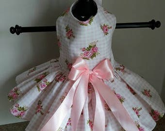 Dog Dress Light Pink  Roses