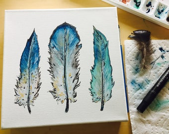 8x8 Original Bright Blue Green Grey Feather Watercolor Acrylic Painting