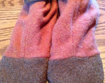 Rust&brown recycled wool sweater slippers, fleece lined, leather sole,size XL,fits sizes 11-12