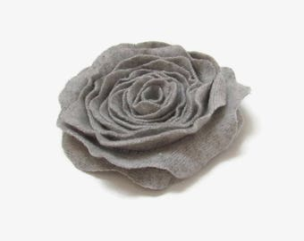 Flower Pin Pale Gray Cashmere Rose Pin Felted Wool Rose Brooch