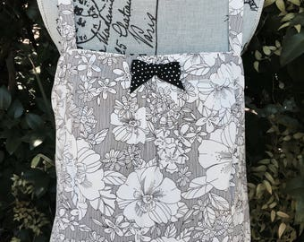 Black and White SUNDRESS  - ROMANTIC - Boho Gathered DRESS -  SiZE 20
