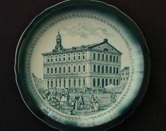 """Buffalo Pottery Co. """"FANEUIL HALL BOSTON"""" green plate ca: 1900-09"""