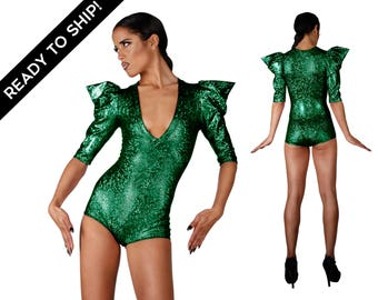 Ready To Ship! Bodysuit in Holographic Green, Halloween Costume, Poison Ivy Costume, Burning Man, Dance Leotard, Stage Wear, by LENA QUIST