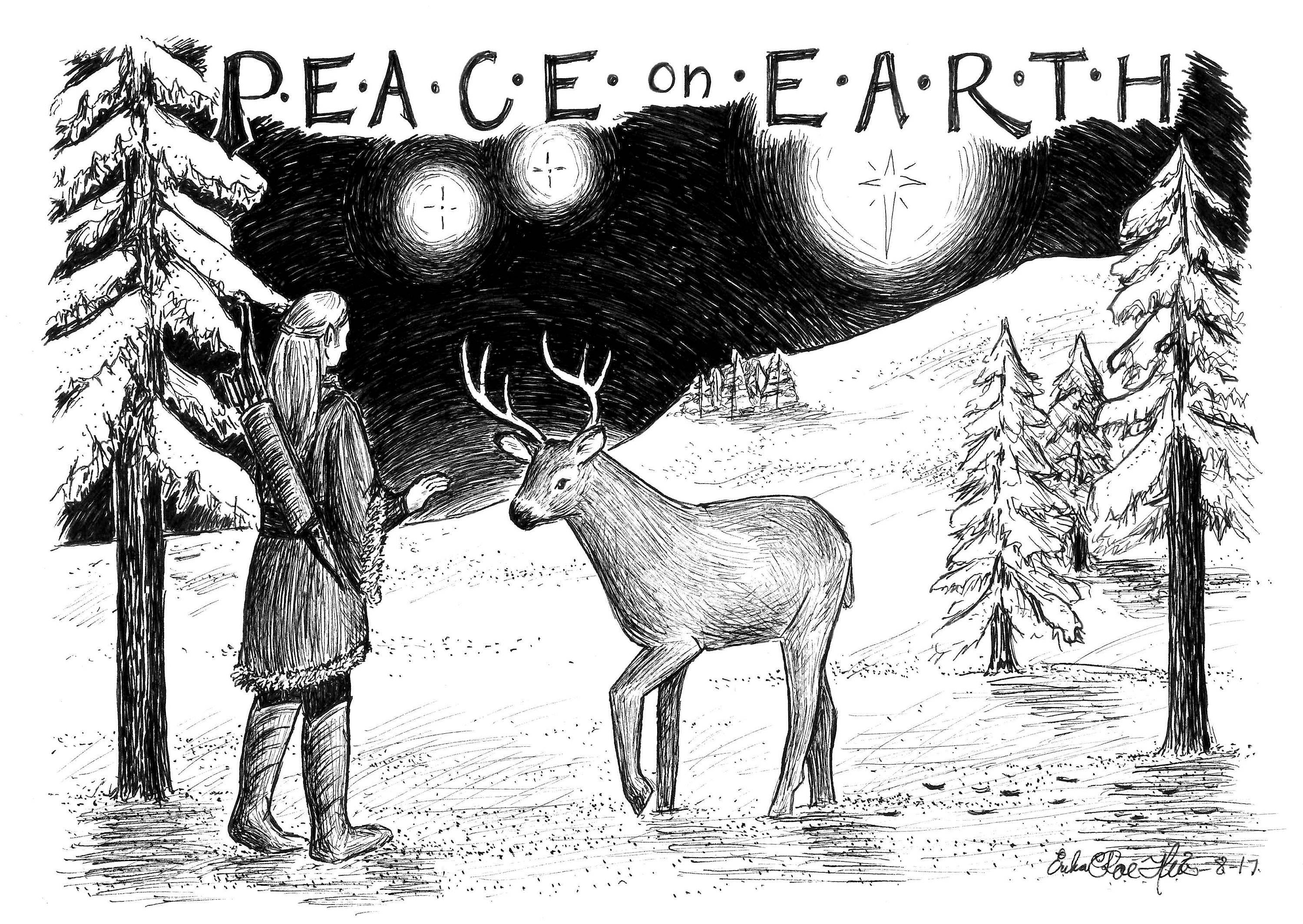 2018 Christmas Cards Peace on Earth Pack of 4