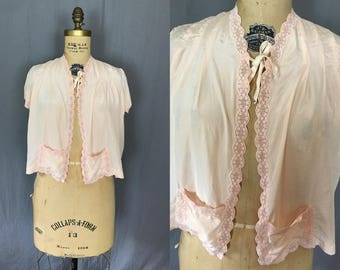 Pink Silk Bed Jacket with Pockets & Lace Details / 50's / open size