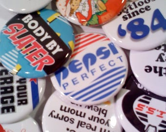 80s Themed Buttons, Set of 12
