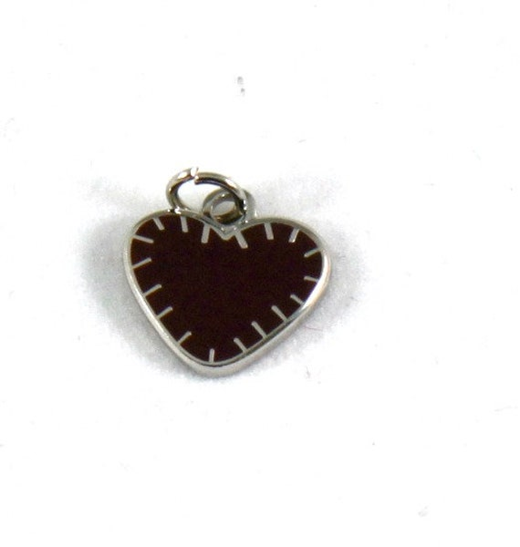 "Stitched Heart 1/2"" Enamel Charm"