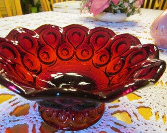 Amberina Smith Glass Compote Footed Dish Moon and Stars Vintage Ruby Red Glass