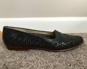 80s Woven Black Leather Slip On Flats