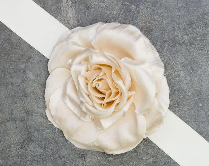 Ivory Satin Ribbon Belt Large Silk Hand Cut Flower Handmade Bridal Wedding Gown Floral Sash Off-White 226