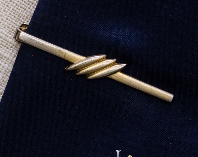 Thin Gold Tie Clip Vintage Anson Triple Marquise Men's Accessories Add On 7WW