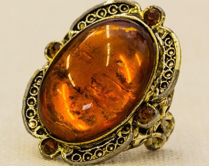 Amber Large Victorian Vintage Ring Gold Metal Brown Orange Copper Rhinestone Cameo Style Filigree Adjustable Size 7RI