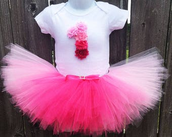 Pink Ombre Tutu Outfit with Matching Headband | First Birthday Outfit |  1st Birthday, 2nd Birthday, 3rd Birthday