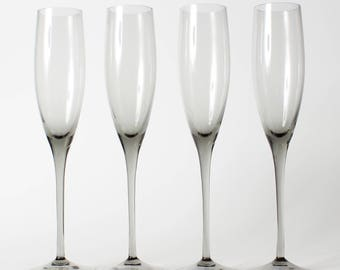 Vintage Long Stem Mikasa Elite-Smoked Fluted Champagne Glasses Set of 4