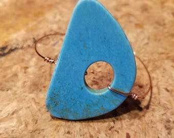 Turquoise and Copper Wire Bangle