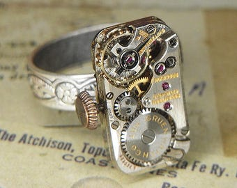 Women's STEAMPUNK Ring Jewelry - Torch Soldered - Antique CURVEX GRUEN Rectangular Watch Movement w Adjustable Floral Band - Unique Gift