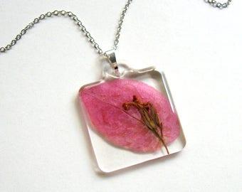 Bougainvillea - Real Flower Garden Necklace - botanical jewelry, flower jewelry, bougainvillea jewelry, natural, Summer necklace, eco, ooak