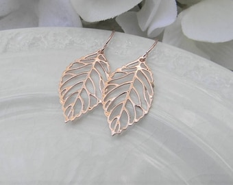 Rose Gold Earrings - Rose Gold Leaf Earrings - Fall Wedding - Rose Gold Jewelry- Minimalist Jewelry - Gift for Her - Gift Under 15