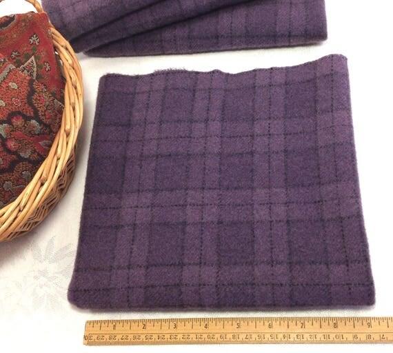 Fat 1/4 yard, Purple Plaid, Mill Dyed Wool Fabric, W438,  medium purple plaid, Grape juice purple, Violet purple, Amethyst