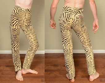 vintage 80s tiger print pants high waist skinny jeans velour velvet Wrangler animal print jeans 1980 mom jeans 14MWZZE size 5 long 34 length