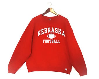 Vintage University of Nebraska Football Sweatshirt // Nebraska Cornhuskers Football Crew Sweatshirt // Vintage Nebraska Jumper