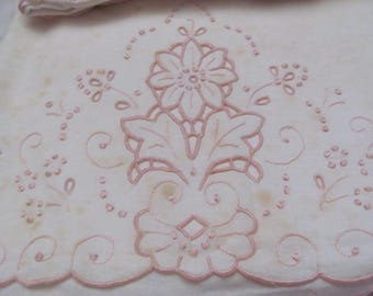 "Pillow Case - Set of 2 Antique Solid White Fine Linen Cotton Pink Embroidered Pillow Cases - - 20"" x 32"""