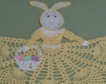 Crocheted Lady Easter Bunny Doily in Yellow