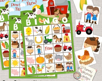 Digital Farm Animal Bingo, Printable Barnyard Bingo Game, Farm Birthday Bingo for Kids, Animal Party Game, birthday for boys, preschool game