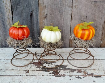 Bedspring Pumpkins Fall Halloween Decor Rustic Country Farmhouse Orange White Brown Rusty Metal Upcycled Repurposed Set of 3 Three