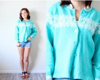 40% OFF CHRISTMAS in JULY Vintage Small // Turquoise boho navajo floral sweater // floral cardigan// light blue sweater // cardigan