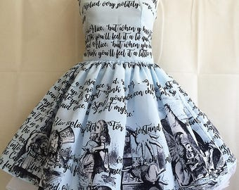 Alice In Wonderland Dress, Literature dress, Book Dress, Writing Dress, Alice Dress, Uk, BLUE OR CREAM avialble, Rooby Lane