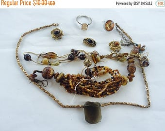 SUMMER SALE Shades of Orange and Brown Vintage and Salvaged Colorful Rhinestone Jewelry Parts and Pieces for Repurposing