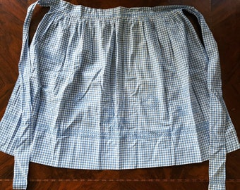 Beautiful Hand Crafted Mid Century Vintage Blue & White Gingham Check Half Apron