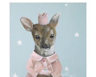 On Sale Nursery Print, Princess Deer Print, Animal Art, Blue Pink Nursery Art, Nursery Illustration, Deer Print, Woodland Animal Decor