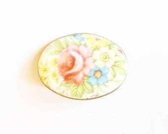 Brooch Oval Handpainted Flowers Pastels Pin Vintage Jewelry Jewellery 1940s Gift Guide Women Folk Cottage Chic