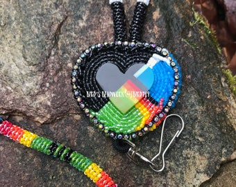The First Fire Beaded Lanyard/ Badge Holder