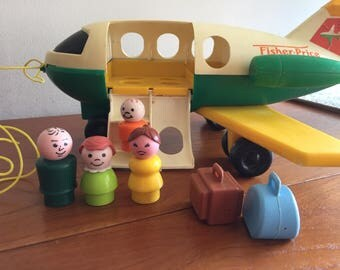 Vintage 1980 Fisher Price Airplane Jetliner COMPLETE #182 Luggage Figures Set Lot Original 80s Toys Classic Retro Air Plane Suitcase Jetport