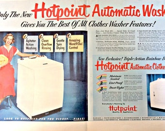 Hot Point ad, Washer Ad, Full Page Ad, Wall Decor, Appliance Ad, Laundromat Ad, Old Paper, Automatic Washer Ad, Display Ad, Laundry Ad,Ad