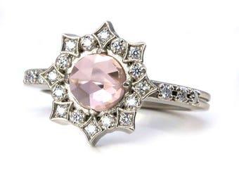 Lab Morganite Diamond Mandala Engagement Ring - Bohemian Engagement
