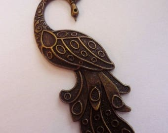 1 bronze 61x20mm Peacock charm