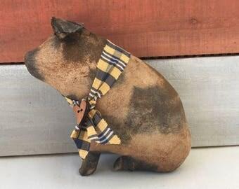 primitive country pig - farm pig - spotted pig - country primitive decor - country decor - pig decor - rustic cottage decor - primitive hog