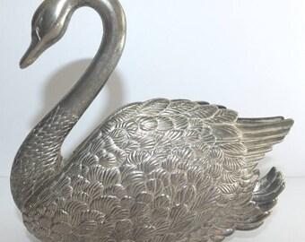 Godinger Silver Plate Swan Napkin Letter Holder Desk Organizer 1988