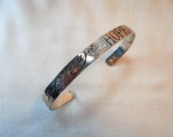 Vintage Sterling Silver Cuff Bracelet / Bangle ESPERANZA HOPE Signed 925 13 Grams Retro Engrave Embossed