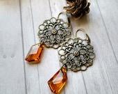 Bohemian earrings brass filigree earrings topaz crystal dangle earrings unique earrings amber glass earrings beaded jewelry beaded earrings