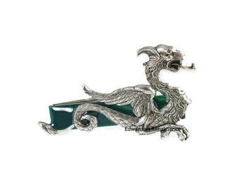 Dragon Tie Clip Inlaid in Hand Painted Emerald Green Enamel Game of Thrones Inspired with Color Options