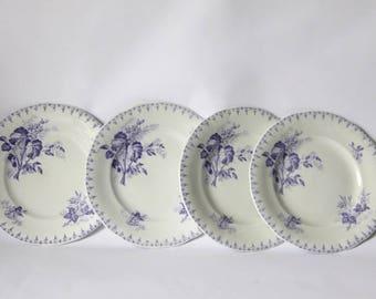 Antique French Lavender Transferware Flore Dessert Plate Sarreguemines Set of 4