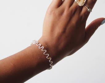 Silver Squiggle Closed Bangle Bracelet