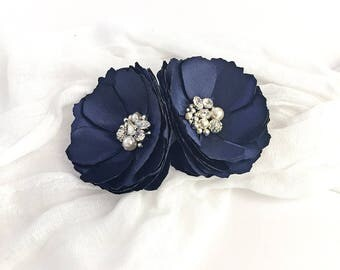 Navy Blue Flower Hair Clips with Swarovski Crystal Embellished - Brooch - Shoe Clip for a Bride, Bridesmaid, Photo Prop or Gift - Kia