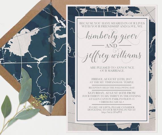 Wedding invitations custom navy invitation suite travel wedding il570xn stopboris Gallery