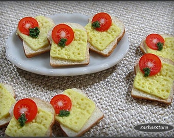 Two miniature slices of bread with cheese and tomato, 12th scale dollhouse miniature food